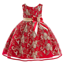 цена на Baby Girl Wedding Party Dress 2-10 Years High Quality Lace Sequined Big Bow Tutu Princess Dress for Girl Summer