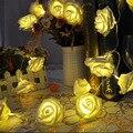 20 LED Jardín Fiesta de Navidad de la Flor de Rose LED Luz de la Secuencia de La Boda Decoración con pilas luces de hadas de la lámpara tira llevada
