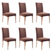 6PCS Dining Chair Cover Jacquard Polyester Spandex Fabric Dining Chair Covers Removable Washable Chair Slipcovers Stretch