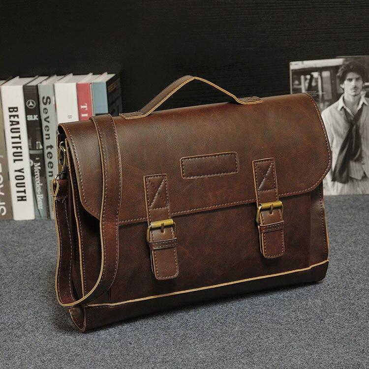 HTB1DWsejgvD8KJjSsplq6yIEFXaa Crazy Horse PU Leather Men Briefcase Famous Brand Men's Messenger Bag Male Laptop Bag Business Fashion Shoulder Bags Travel Bag