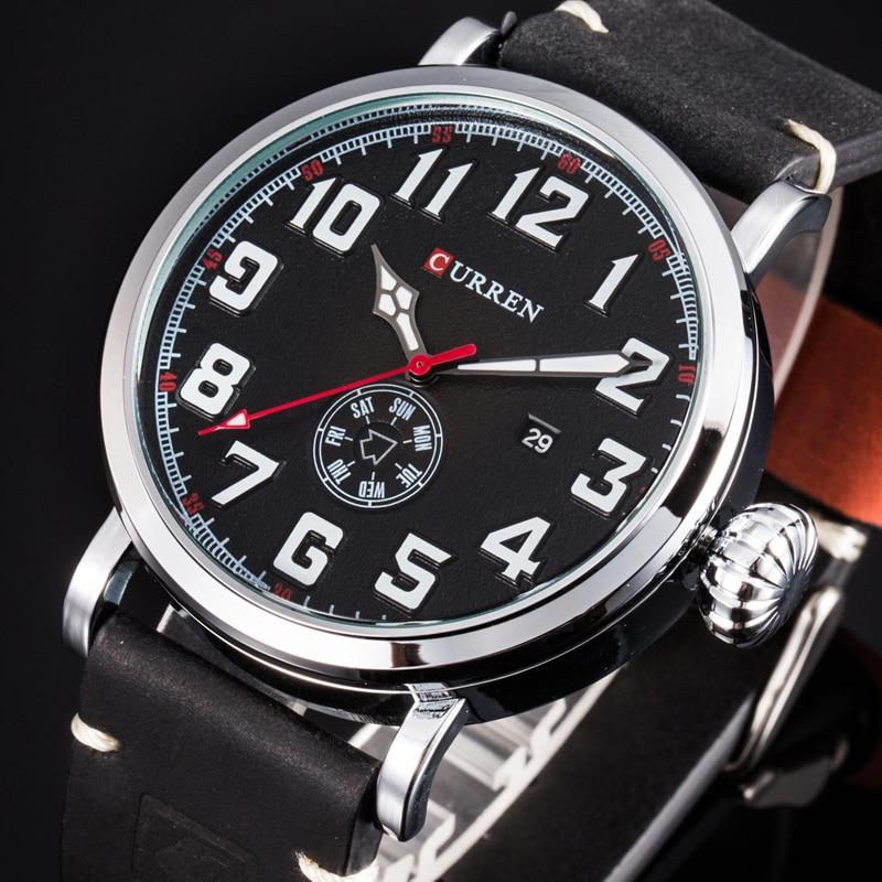 Men Watch Brand CURREN Fashion Big Digital Dial Male Wristwatch Casual Calendar Quartz Leather Clock Montre Homme Reloj Hombre curren 30m reloj 8097