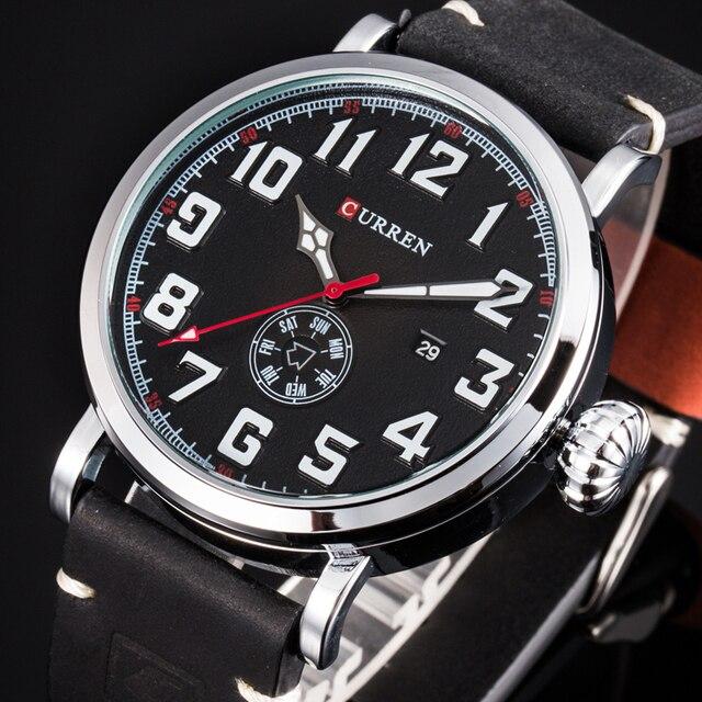 Relógio de pulso da marca curren moda grande mostrador digital masculino relógio de pulso calendário casual relógio de couro quartzo montre homme reloj hombre