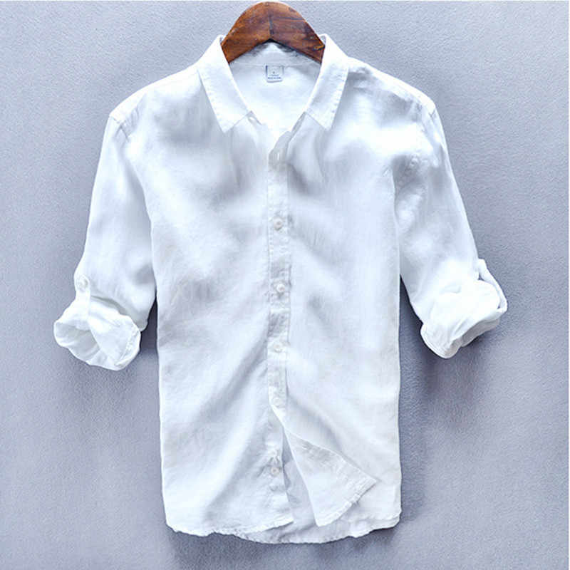 faec0cd21a Italy Style 100% Linen men Shirt Long Sleeve Breathable Turn down Collar shirt  men brand
