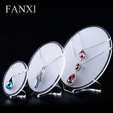 цена на FANXI Free shipping Custom Oval shape matte acrylic necklace displays for shop party favors pendant exhibitor shelf