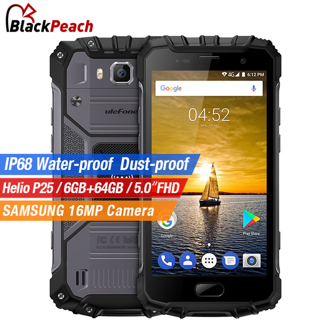 Ulefone Armor 2 Waterproof IP68 Mobile Phone 5.0 inch FHD Helio P25 Octa Core Android 7.0 6GB+64GB 16MP Cam 4G Global Version