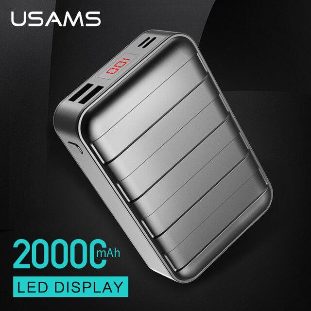 USAMS Универсальный Dual USB Power Bank 20000 мАч светодиодный дисплей портативное зарядное устройство телефона PowerBank для IPhone Xiaomi Samsung