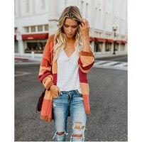 2019 Fashion Brand sweater cardigan women Long knit OL Loose stripes rainbow coat plus size Long sweaters coats cardigans woman