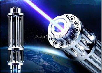 슈퍼 강력한 군사 500W 500000m 450nm 블루 레이저 포인터 손전등 불타는 일치/마른 나무/화상 담배 Lazer 사냥