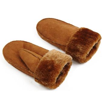 2019 zima gruby na świeże powietrze ciepłe kaszmirowe rękawiczki męskie damskie Faux rękawiczki z owczej skóry podgrzewane futrzane mitenki zamszowe rękawiczki tanie i dobre opinie Heated Fur Mittens Suede Leather Gloves Unisex CASHMERE Moda Nadgarstek Stałe Titmsny Dla dorosłych