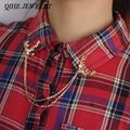 QIHE joyería Vintage personalizado ciervo Collar Pin venta directa de fábrica joyería de moda broche Retro camisa Collar Pin broche