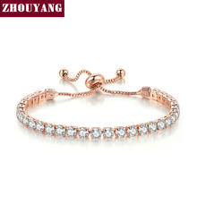 ZHOUYANG Bracelet For Women Luxury Handy Adjustable 4 Claws Mosaic 4mm Cubic Zirconia Rose Gold Color Fashion Jewelry Gift H133(China)