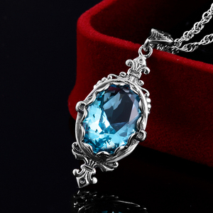 Image 2 - Szjinao Real 925 Sterling Silver Pendant For Women Aquamarine Necklace Pendants Oval Gemstone Vintage Viking Fine Jewelry Gift