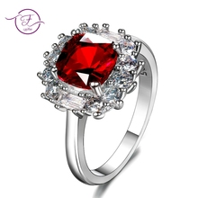 Charms 8x8MM Ruby 925 Silver Jewelry Romantic Woman Wedding Rings With AAAA Cubic Zirconia Stones Wholesale Fine Ring