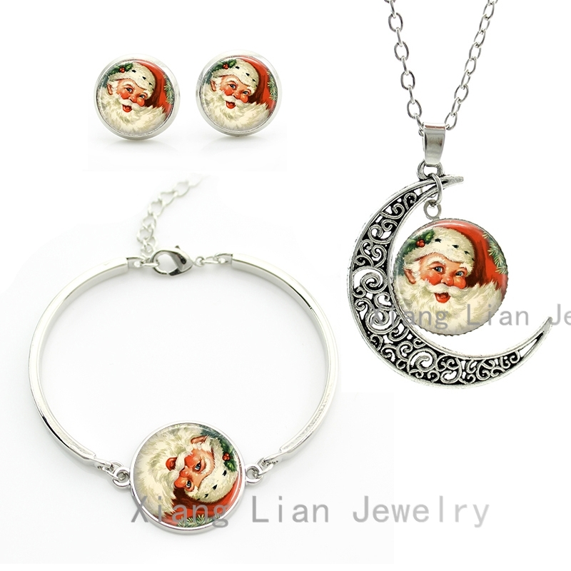 Super cute fat Santa Claus Father Christmas costume jewelry sets New Year party necklace earrings bracelet for kids gifts CM45