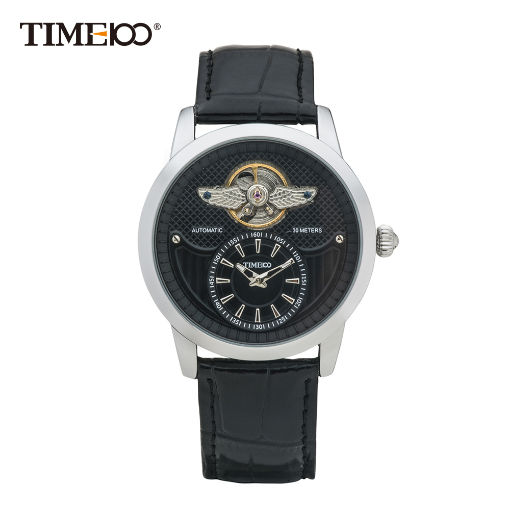 2016 Time100 Men's Mechanical Automatic Self-wind Skeleton Watch Black Leather Strap Military Wrist Watches For Men ключ накидной торкс force f 756a