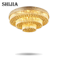 FedEx Freight K9 Crystal Ceiling Modern Luxury Fashion Golden Crystal Lamps Living Room Hotel Crystal Light