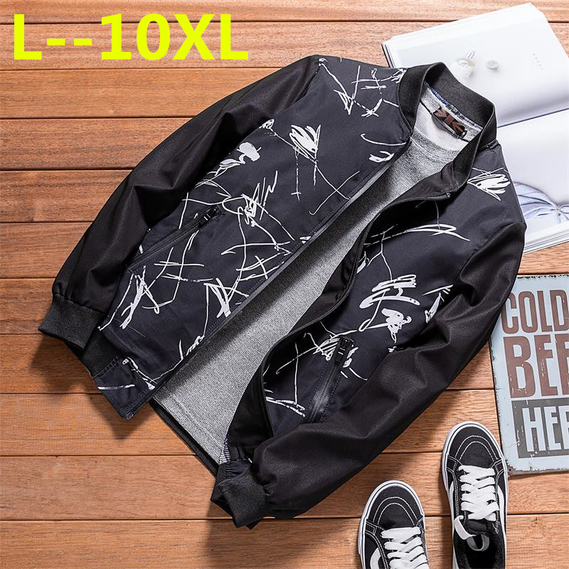 10XL 6XL 8XL Brand Casual Jacket 2018 Spring Bomber Jacket Men Windbreaker Fashion Casual Coats Loose fit Plus Size Outerwear