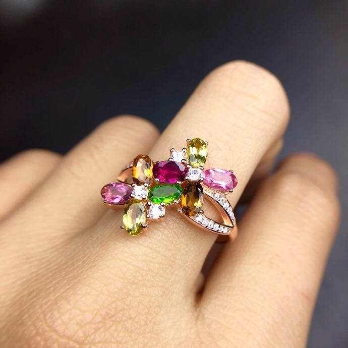 Flower Ring Natural real tourmaline ring Free shipping 925 sterling silver Handworked rings For men or women Flower Ring Natural real tourmaline ring Free shipping 925 sterling silver Handworked rings For men or women