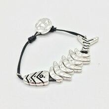 Youga Hand woven calfskin rope, fish bone bracelet, lovely Vintage girl Bracelet length 18-19cm handmade boho jewelry YB024