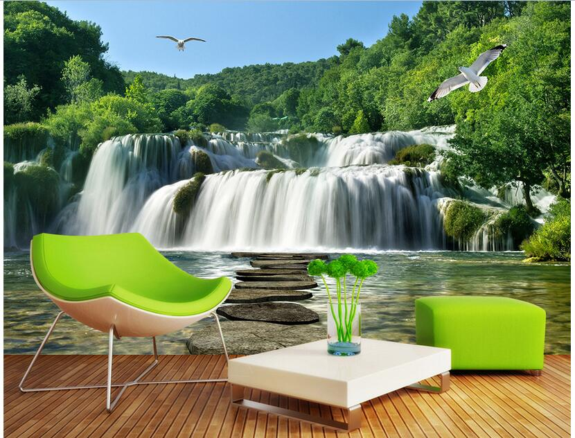 3d wallpaper custom photo non-woven mural picture wall sticker Landscape waterfalls birds painting 3d room murals wallpaper custom photo 3d wallpaper non woven mural wall sticker the big tree on the grass painting picture 3d wall room murals wallpaper