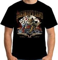 Velocitee Mens Deadmans Hand T Shirt Cowboy Poker Biker Outlaw W14416 Cheap wholesale tees,Gift Print T shirt,mens tee shirts