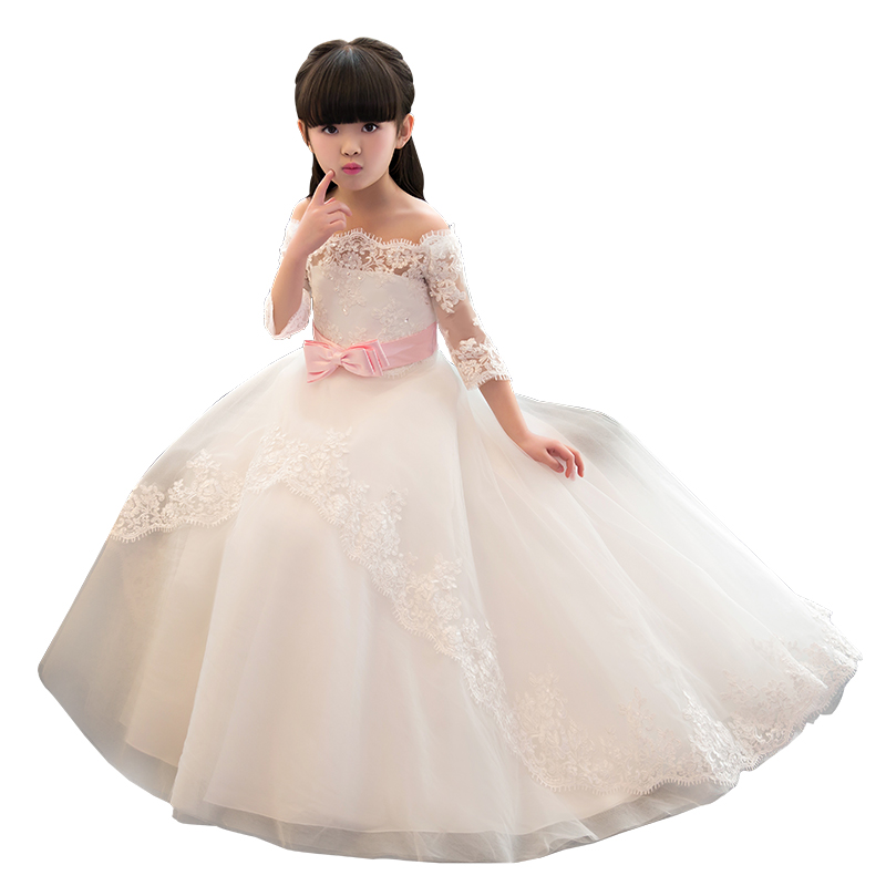3/4 Sleeve White Lace Flower Girl Dresses With Edge Christmas Evening First Communion Dresses Ball Gown Mother Daughter Dresse цена 2017