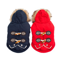 Horn Button Retro Style Dog Clothes Thicken Winter Warm Pet Dog Coat Jacket Sweater Puppy Apparel