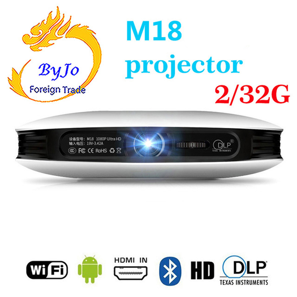 лучшая цена ByJoTeCH M18 projector 3D 1080P 2G 32G Android WIFI 4K Home Theater Cinema Proyector Beamer AirPlay Miracast Built-in battery
