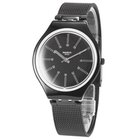 Часы Swatch серии кожи Простые Модные черный кварц обувь для мужчин и женщин Таблица SVOB100M
