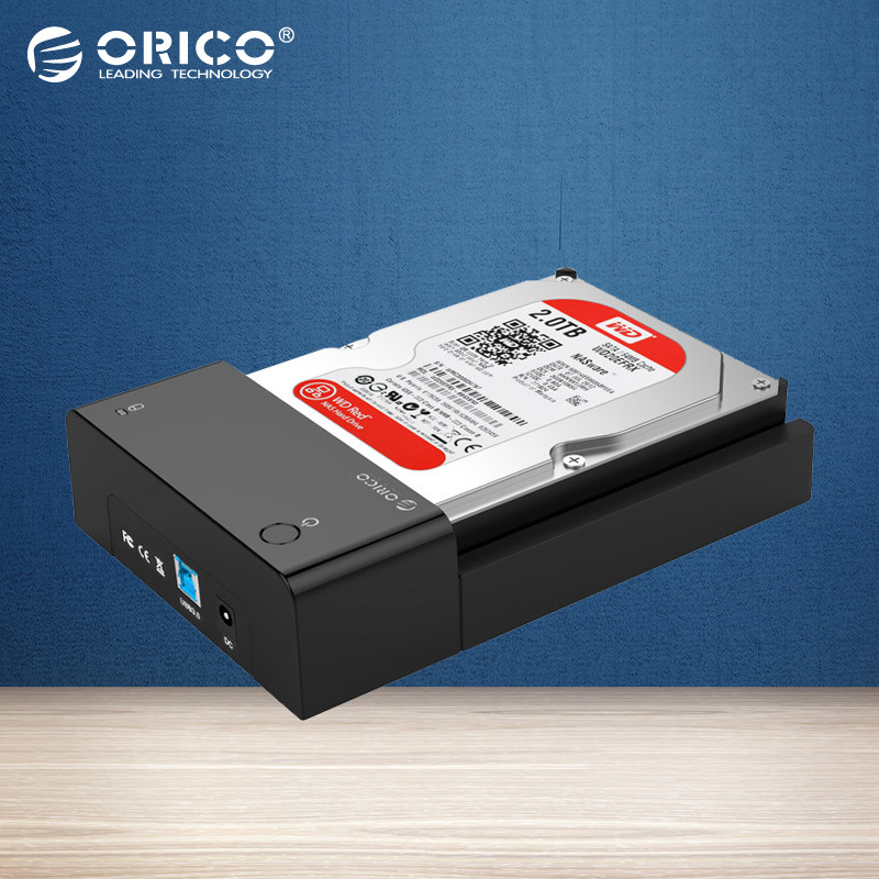 ORICO 6518US3 SuperSpeed EU Plug USB3.0 HDD Hard Drive & SSD Docking Station for 2.5 & 3.5 inch SATA [Support 8TB Drive] - Black