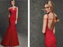 red lace appliques evening dress kadisua 2017 new sexy backless vestido de festa mermaid evening party dresses robe de soiree цены