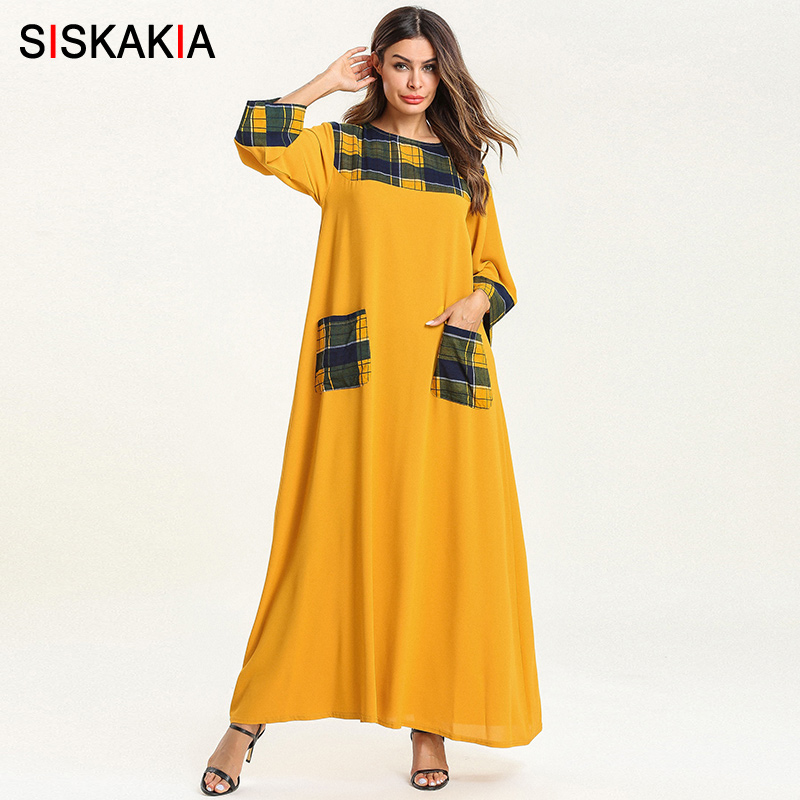 Siskakia Casual Women T Shirt Long Dress Fashion Plaid Pockets Patchwork Muslim Dresses Yellow Round Neck Swing Knitted Fabric