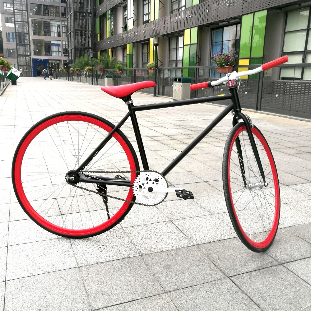 red 700c high carbon steel single speed bikes for men dirt. Black Bedroom Furniture Sets. Home Design Ideas