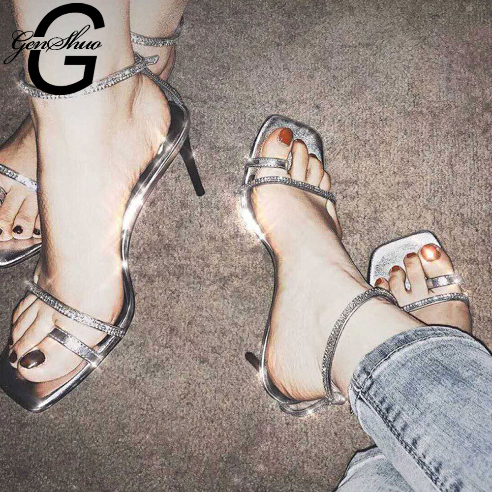 GENSHUO High Heels Sandals Vintage Square Toe Heel Sandals Crystal Silver Summer Sandals Ankle Strap Gladiator Shoes For WomenGENSHUO High Heels Sandals Vintage Square Toe Heel Sandals Crystal Silver Summer Sandals Ankle Strap Gladiator Shoes For Women