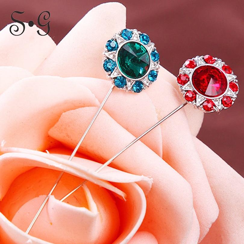 Wholesale 12pcs/pack Pin star flower crystal Women Safety Scarf Pin New Hijab Pins Rhinestone Muslim Hijab Brooches women brooch