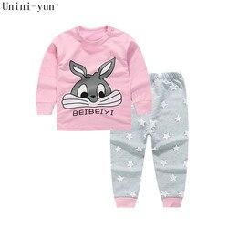Высококачественный комплект одежды из 100% хлопка для малышей, Детский комплект для малышей, комплект из 2 предметов с принтом кролика для мал...