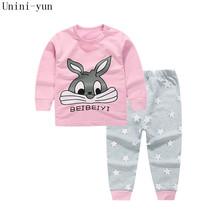 Wysokiej jakości 100 bawełna zestaw odzieży dla niemowląt niemowląt dzieci zestaw Baby Boys Girls 2 szt królik druku gorąca sprzedaż-różowy 6t5t4t3t24M12 tanie tanio Unini-Yun Moda Dziewczyny Pełne Kreskówki O-Neck Regularne od 8 do 12 5 Płaszcz Sweter Pasuje do rozmiaru Weź swój normalny rozmiar