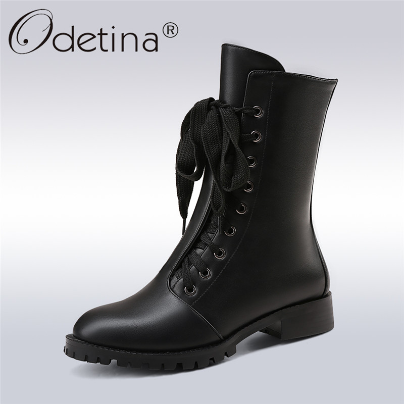 Odetina 2017 Low Heel Mid Calf Boots Rounded Toes For Women Lace Up Ladies Short Boots Side Zipper Winter Warm Shoes Big Size 43 trendy low heel and double buckle design women s mid calf boots