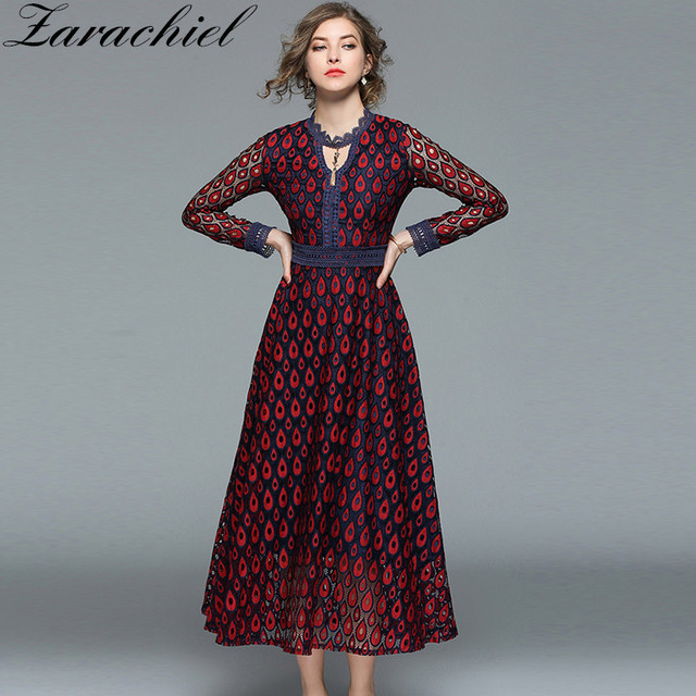 05eb34060958f US $25.72 17% OFF|New 2018 Spring Women Crochet Lace Dress Hollow Out  Streetwear Maxi Dress Female Sexy V neck Peacock Feather Shape Long  Dress-in ...