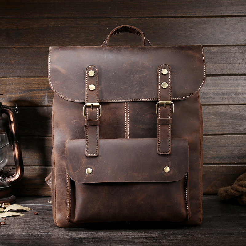 Crazy Horse Cowhide Men Backpack Genuine Leather Vintage Daypack Travel Casual School Book Bags Brand Male