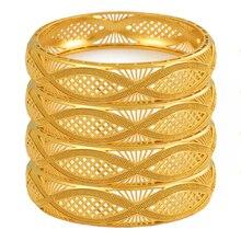 Anniyo 4 teile/los Dubai Gold Farbe Armreifen Äthiopischen Schmuck Afrikanische Armbänder für Frauen Arabischen Schmuck Hochzeit Braut Geschenke #199406