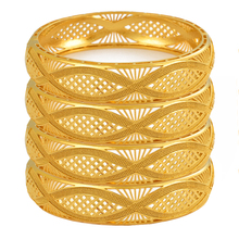 Anniyo 4pcs/Lot Dubai Gold Color Bangles Ethiopian Jewelry African Bracelets for Women Arab Jewelry Wedding Bride Gifts #199406