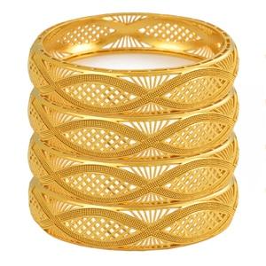 Image 1 - Anniyo 4pcs/Lot Dubai Gold Color Bangles Ethiopian Jewelry African Bracelets for Women Arab Jewelry Wedding Bride Gifts #199406