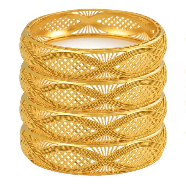 Anniyo 4pcs/Lot Dubai Gold Color Bangles Ethiopian Jewelry African Bracelets for Women Arab Jewelry Wedding Bride Gifts #199406