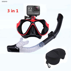 3 in 1 Set Diving Mask Snorkeling Snorkel Tube Underwater Waterproof Swimming Goggles with Glasses Case For GoPro Xiaomi Camera