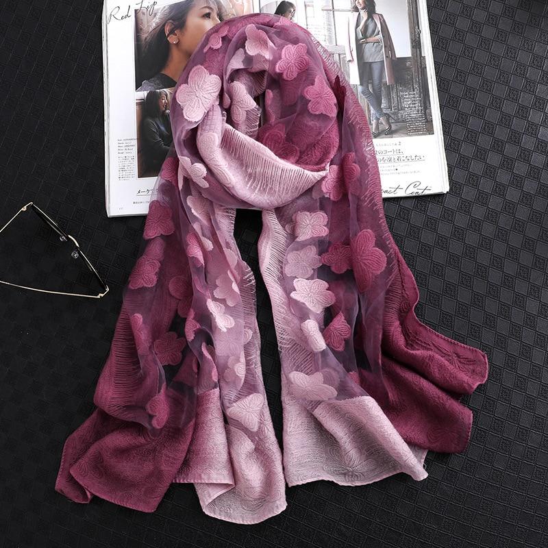 Silk Scarves Wraps Foulard-Bandana Hijabs Pashmina Neck-Shawls Designer Long-Size Lady