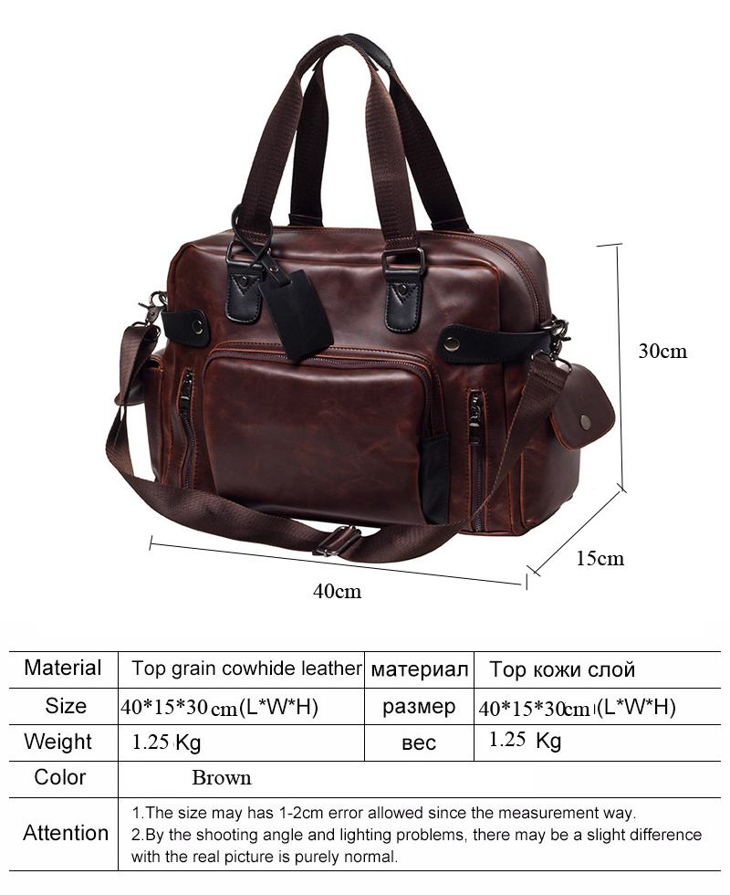 863167a54d45 Men Crazy Horse Leather Travel Bags Luxury Style Men Luggage Duffle ...