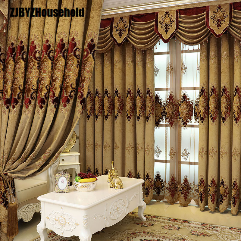 New European Style Curtain Fabric Embroidery Curtains for Living Dining Room Bedroom Valance(China)