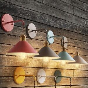 Image 2 - 北欧現代壁ライト傘レストラン装飾マカロンランプリビングルーム寝室通路階段ベッドサイドホームデコレーションインテリア