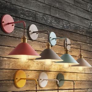 Image 2 - Nordic Modern wall light Umbrella Restaurant Decoration Macarons  Lamp Living Room Bedroom Aisle Stairs Bedside Home Decor